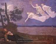 The Dream: In His Sleep He Saw Love, Glory and Wealth Appear to Him painting reproduction, Pierre Puvis De Chavannes