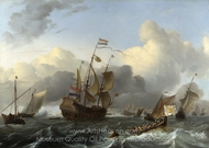The Eendracht and a Fleet of Dutch Men-of-War painting reproduction, Ludolf Backhuysen