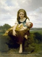 The Elder Sister painting reproduction, William A. Bouguereau