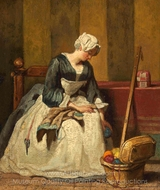 The Embroiderer painting reproduction, Jean Simeon Chardin