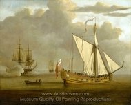 The English Yacht Portsmouth at Anchor painting reproduction, Willem Van De Velde, The Elder
