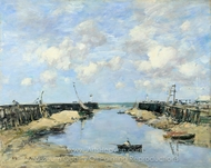The Entrance to Trouville Harbour painting reproduction, Eugene-Louis Boudin