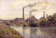 The Factory at Pontoise painting reproduction, Camille Pissarro
