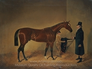 The Famed Racehorse, Sir Tatton Sykes, with his Owner and a Groom in a Loosebox painting reproduction, John Frederick Herring Sr.