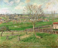 The Field and the Great Walnut Tree in Winter, Eragny painting reproduction, Camille Pissarro