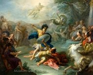 The Fight between Aeneas and King Turnus painting reproduction, Giacomo Del Po