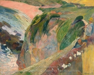 The Flageolet Player on the Cliff painting reproduction, Paul Gauguin