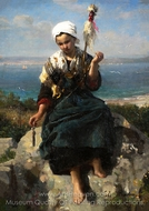 The Flax Spinner painting reproduction, Jules Breton