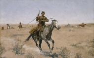 The Flight painting reproduction, Frederic Remington