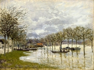 The Flood on the Road to Saint-Germain painting reproduction, Alfred Sisley