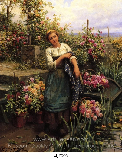 Daniel Ridgway Knight, The Flower Boat oil painting reproduction