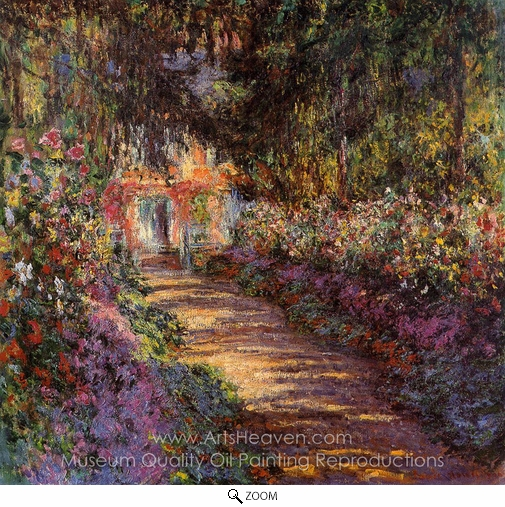 Claude Monet, The Flowered Garden oil painting reproduction