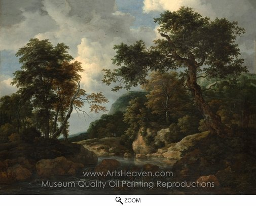 Jacob Van Ruisdael, The Forest Stream oil painting reproduction