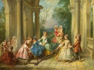 The Four Ages of Man - Childhood painting reproduction, Nicolas Lancret