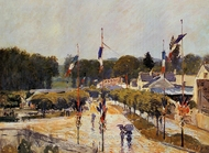 The Fourteenth of July at Marly-le-Roi painting reproduction, Alfred Sisley