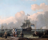 "The Frigate ""De Ploeg"" on the Ij in Amsterdam painting reproduction, Ludolf Backhuysen"