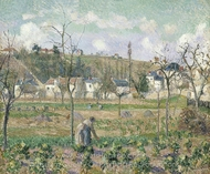 The Garden at Maubuisson, Pontoise, and Mother Bellette painting reproduction, Camille Pissarro