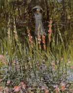 The Garden, Gladioli painting reproduction, Claude Monet
