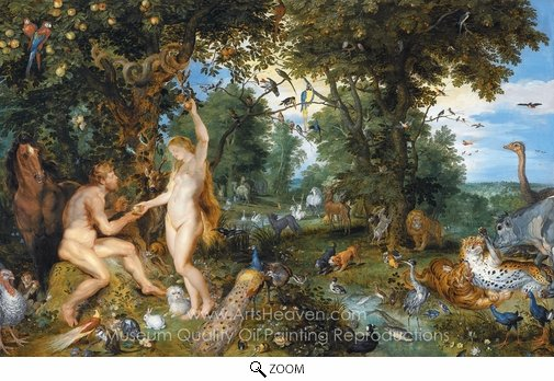 Jan Brueghel, The Garden of Eden with the Fall of Man oil painting reproduction