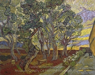 The Garden of the Asylum in Saint-Remy painting reproduction, Vincent Van Gogh