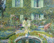 The Garden Pool painting reproduction, Frederick Carl Frieseke