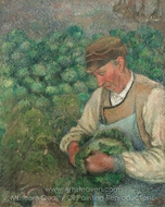 The Gardener, Old Peasant with Cabbage painting reproduction, Camille Pissarro