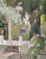 The Gardens at the Sorolla Family House painting reproduction, Joaquin Sorolla
