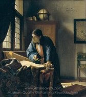 The Geographer painting reproduction, Jan Vermeer