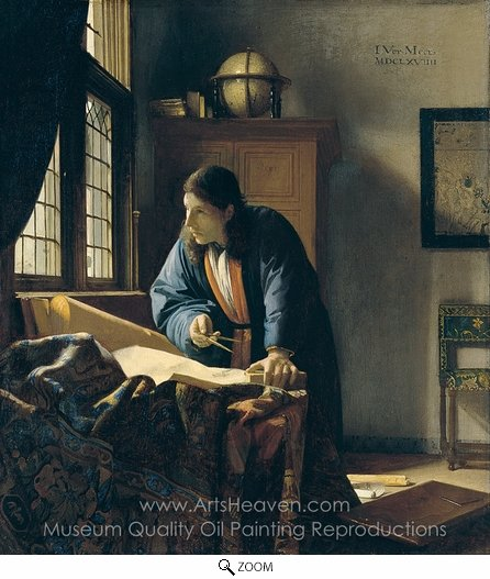 Jan Vermeer, The Geographer oil painting reproduction