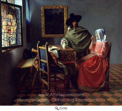 Jan Vermeer, The Glass of Wine oil painting reproduction
