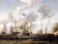 The Golden Leeuw Engaging the Royal Prince at the Battle of the Texel, 11 August 1673 painting reproduction, Abraham Storck