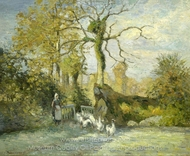 The Goose Girl at Montfoucault (White Frost) painting reproduction, Camille Pissarro