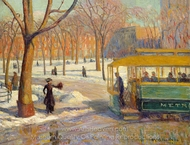 The Green Car painting reproduction, William James Glackens
