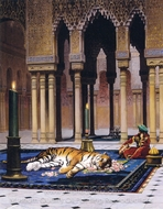 The Grief of the Pasha (The Dead Tiger) painting reproduction, Jean-Leon Gerome