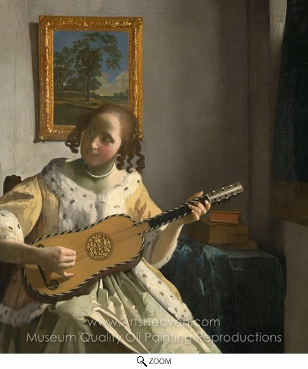 Jan Vermeer, The Guitar Player oil painting reproduction