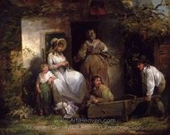 The Happy Cottagers (The Cottage Door) painting reproduction, George Morland