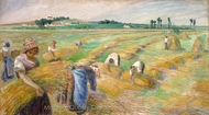 The Harvest painting reproduction, Camille Pissarro