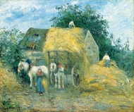 The Hay Cart, Montfoucault painting reproduction, Camille Pissarro