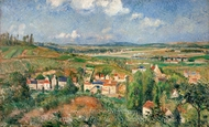 The Hermitage in Summer, Pontoise painting reproduction, Camille Pissarro