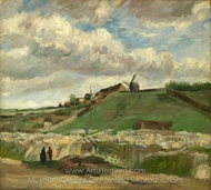 The Hill of Montmartre with Stone Quarry painting reproduction, Vincent Van Gogh