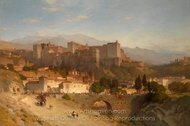 The Hill of the Alhambra, Granada painting reproduction, Samuel Colman