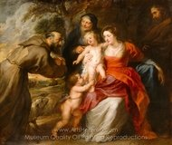 The Holy Family with Saints Francis and Anne and the Infant Saint John the Baptist painting reproduction, Peter Paul Rubens