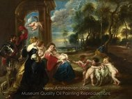 The Holy Family with Saints in a Landscape painting reproduction, Peter Paul Rubens