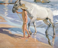 The Horse's Bath painting reproduction, Joaquin Sorolla