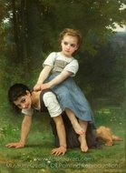 The Horseback Ride painting reproduction, William A. Bouguereau