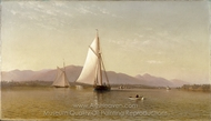 The Hudson at the Tappan Zee painting reproduction, Francis Augustus Silva