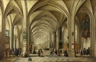 The Interior of a Gothic Church looking East painting reproduction, Hendrick Van Steenwyck