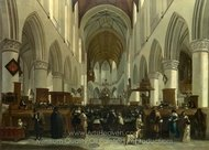 The Interior of the Grote Kerk, Haarlem painting reproduction, Gerrit Berckheyde