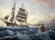 The Iquique and Tug Warrior painting reproduction, Herbert B. J. Everett