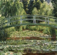 The Japanese Footbridge and the Water Lily Pool, Giverny painting reproduction, Claude Monet